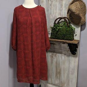 H&M shift dress, geometric print